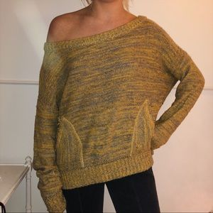 Free people yellow and grey off the shoulder
